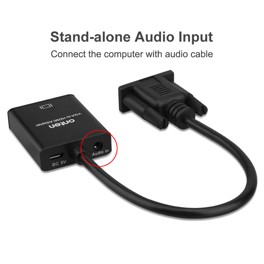 VGA to HDMI Cable Converter Adapter 1080P with Audio Analog to Digital Audio Video Converter for PC Laptop to HDTV Projector in HDMI Cables from Consumer Electronics