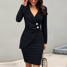Sexy V-neck Bodycon Dress Women Long Sleeve Elegant Midi Office Lady Casual Work