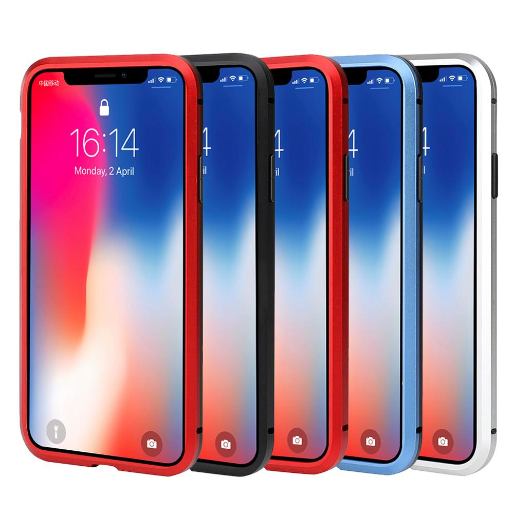 Image 5 - Luxury Magnetic case for iPhone XR metal glass case for iphone x/xs max/6/6s/7/8 plus bumper alumilum 360 full protection 50pcs-in Fitted Cases from Cellphones & Telecommunications