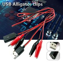 Высокое качество DC силовой тест er кабель USB Мужской и Женский поворотная головка Аллигатор клип тестовые кабели крокодил зажим