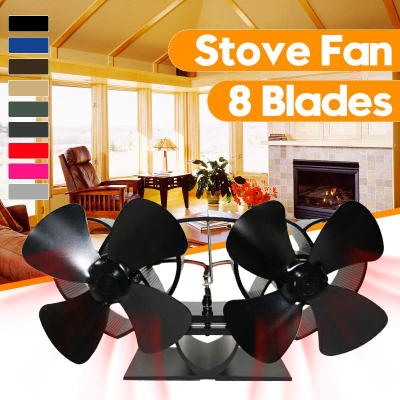 Extra Mini Twin Blade Stove Fan Fireplace Fan Home Efficient Heat Powered Komin Wood Burner Eco Fan For Super Small Space