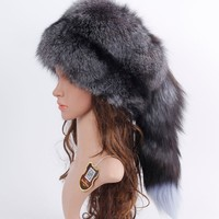 Natural Real Fox Fur Hat Winter Women Adjustable Size 100% Real Fox Fur Cap Casual Warm Russia Real Fox Fur Caps