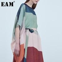 [EAM] 2019 Новый сезон: весна–лето шею короткий рукав полосатый Разделение совместное Свободные Большой Размеры длинное платье Для женщин моды
