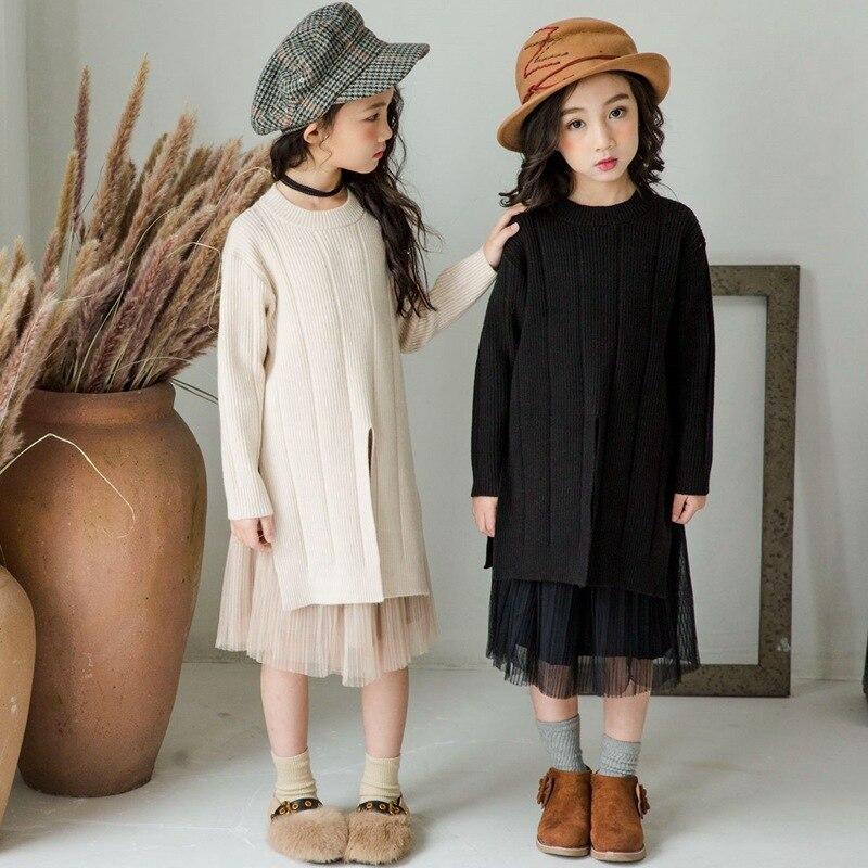 Свитер для маленьких девочек свитер для малышей коллекция 2019 года, Осенний Детский свитер, топы и юбка комплект детской одежды для малышей, милый трикотажный комплект #3725