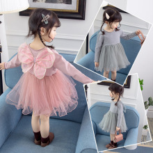 2019 spring and autumn new childrens back bow mesh dress girl wing princess
