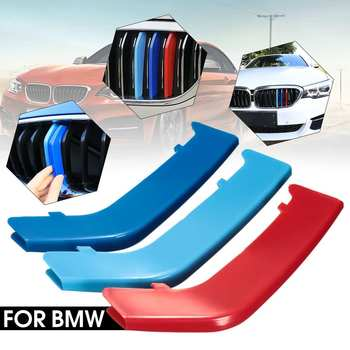 3pcs 3D Car Front Grille Trim Strips Cover Sticker Motorsport Stickers For BMW 3 Series F30 2013- 2018 Fits 8 Slats Only image