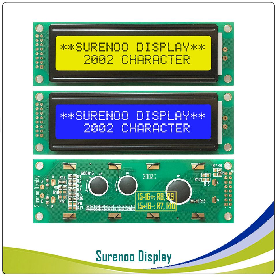 202 20X2 2002 Character LCD Module Display Screen LCM  Yellow Green Blue with LED Backlight202 20X2 2002 Character LCD Module Display Screen LCM  Yellow Green Blue with LED Backlight