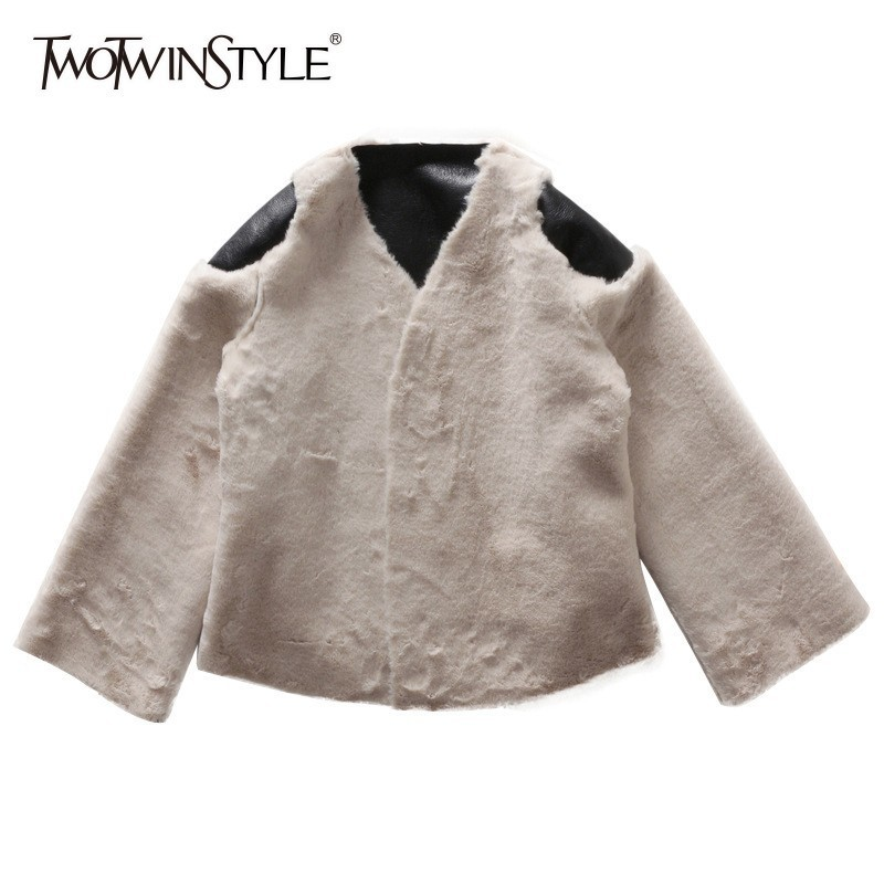TWOTWINSTYLE Faux Rabbit Fur Coat Female V Neck Long Sleeve Patchwork PU Hit Colors Short Overcoat