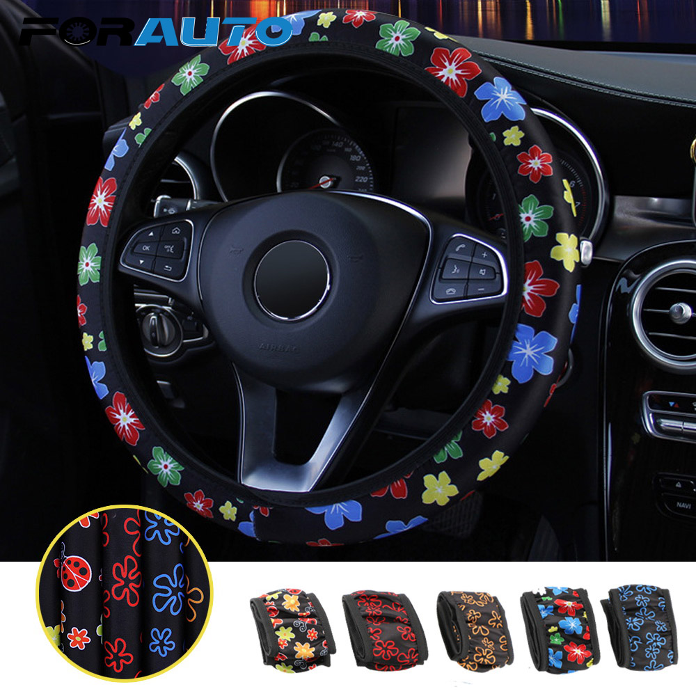FORAUTO Car Steering Wheel Cover Flowers Print Anti-slip Car Styling Elastic 38cm Steering Covers Universal Interior Accessories