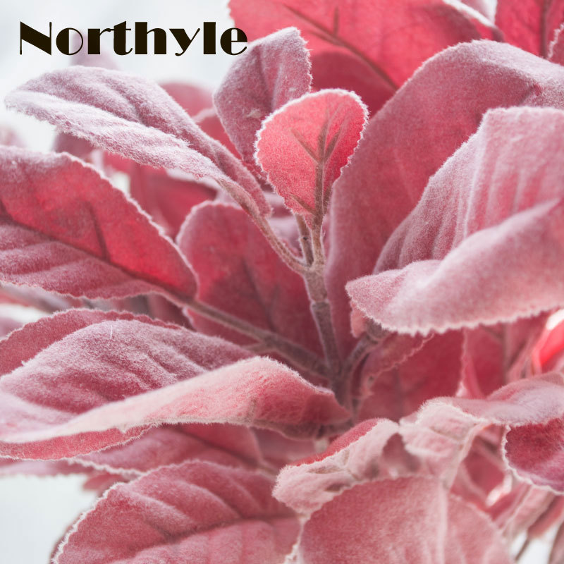 Northyle Artificial Flocked Lamb 39 s Ear Leaf In Green And Red 14 17 quot Length DIY Home Decoration Artificial Greenery Wall Plant in Artificial Plants from Home amp Garden
