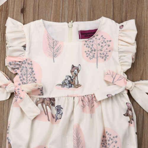 Модная летняя одежда для маленьких девочек 2019 г. Милый хлопковый мягкий Песочник с изображением оленя, комбинезон для новорожденных детская одежда