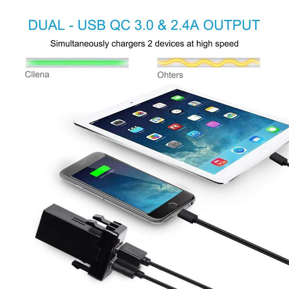 Dual USB 2.0 Car Charger Quick Charge 3.0 for Toyota with Short Circuit Protection