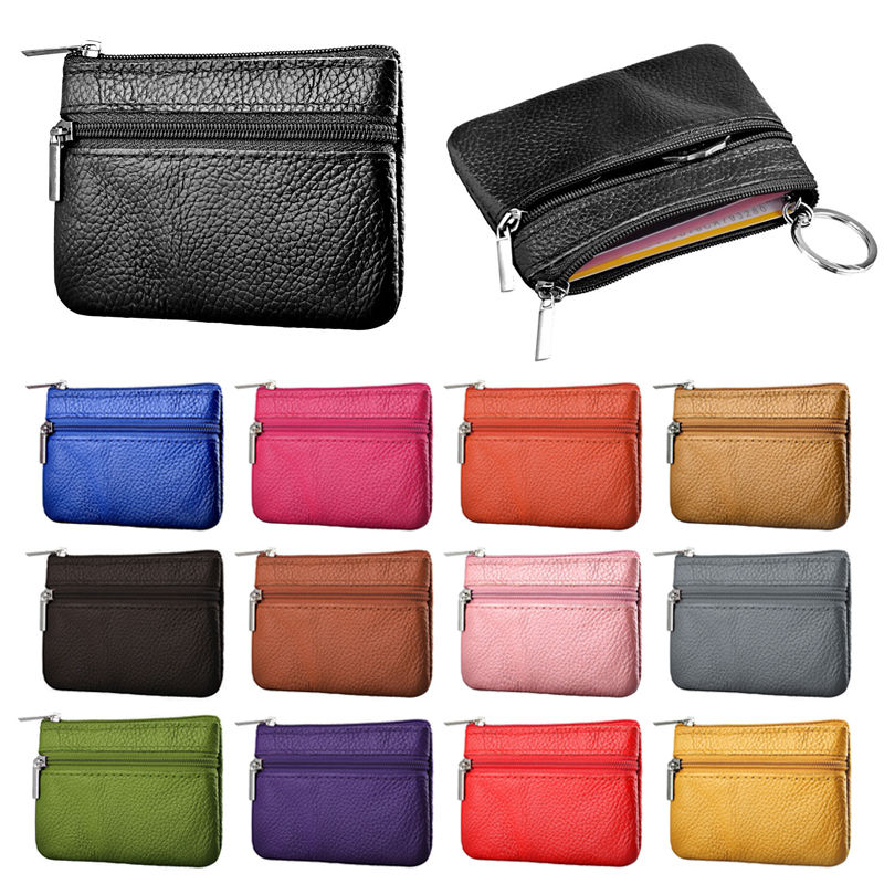 NEW Women Men Leather Coin Purse Wallet Clutch Zipper Small Change Soft Bag Mini