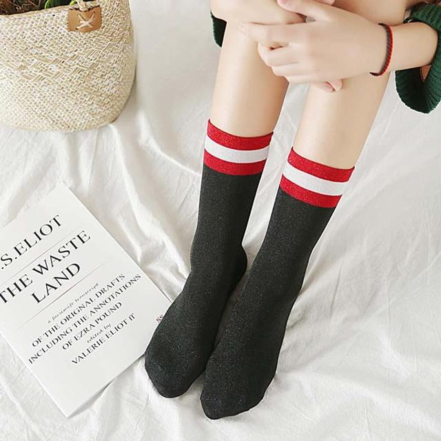 a8c872027 Women Vintage Long Tube Glitter Sock Black Red White High Street Calf Stripe  Sweet And Hot Luxury Cotton Socks Calcetines Socken