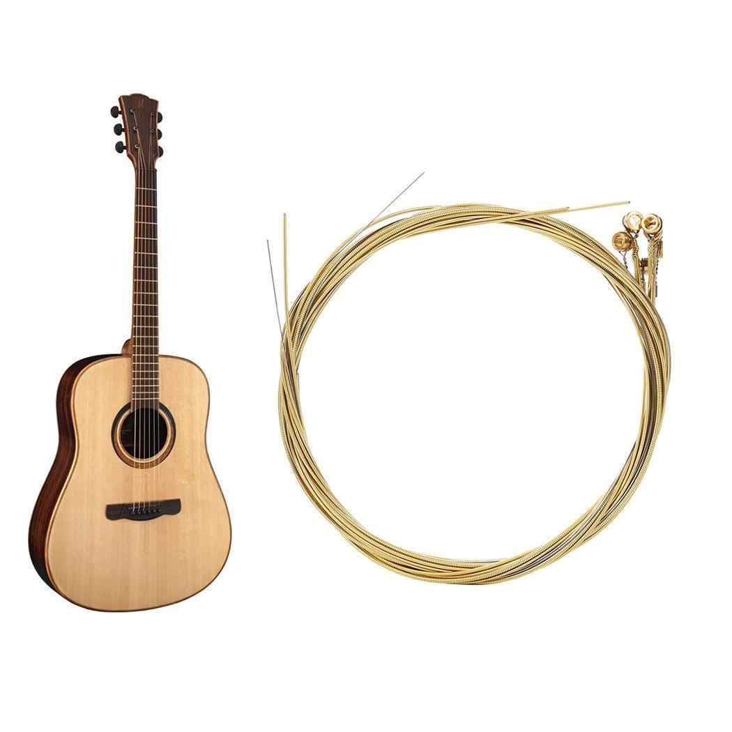 High Quality Acoustic Guitar 6 pcs/set steel Strings Gauge Set of Wooden guitar Guitar Strings E-A Brass Colo