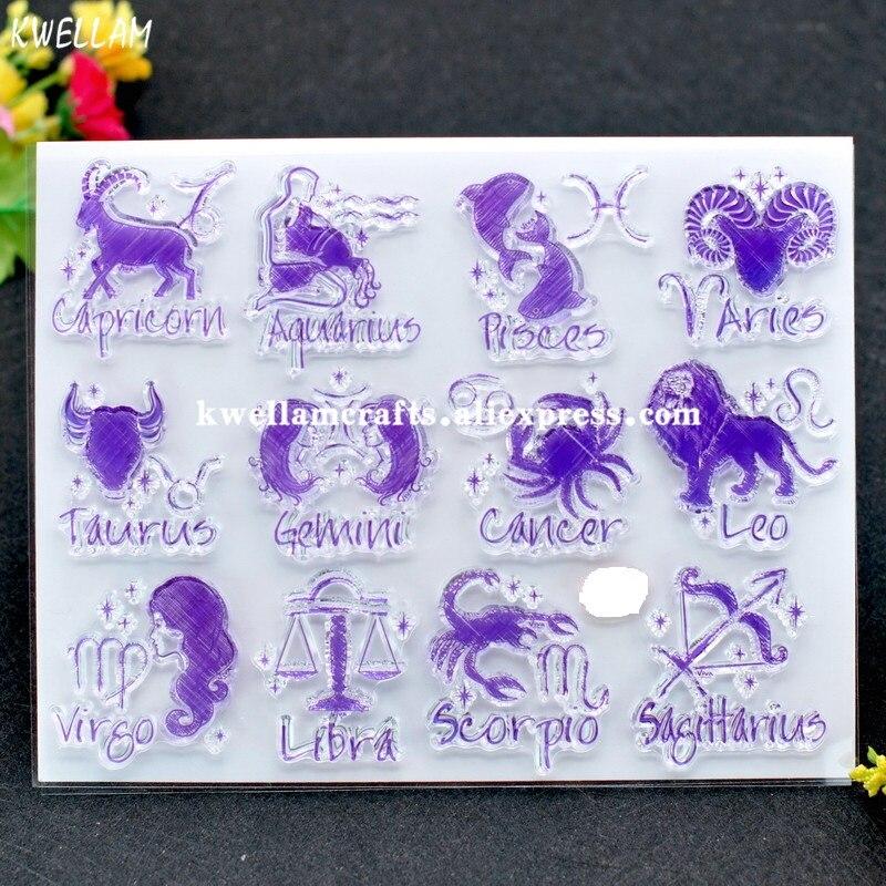 Constellation Capricorn Aquarius Pisces Scrapbook DIY photo cards rubber stamp clear stamp transparent stamp 14x18cm KW7122205(China)