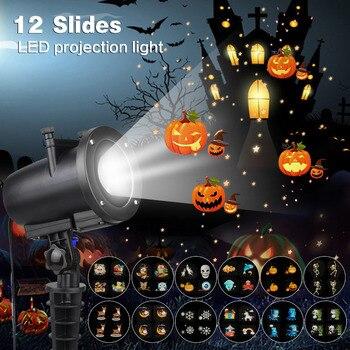 IP65 светодиодный вечерние проектор с рисунком аниме для рождества Хэллоуина лазерный проектор с 12 переключаемыми слайдами KTV Лазерный проек...