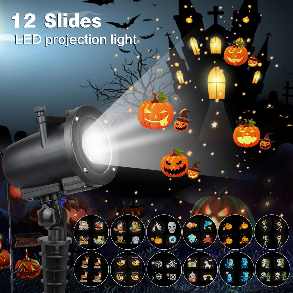 IP65 LED Party Anime Pattern Projector for Christmas Halloween Laser Projector with 12 Switchable Slides KTV Laser Projector DA