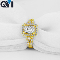 QYI 14K Solid Yellow Gold Split Band Halo Ring Vintage Rectangle Cut Sona Simulated Diamond Rings For Women Jewelry