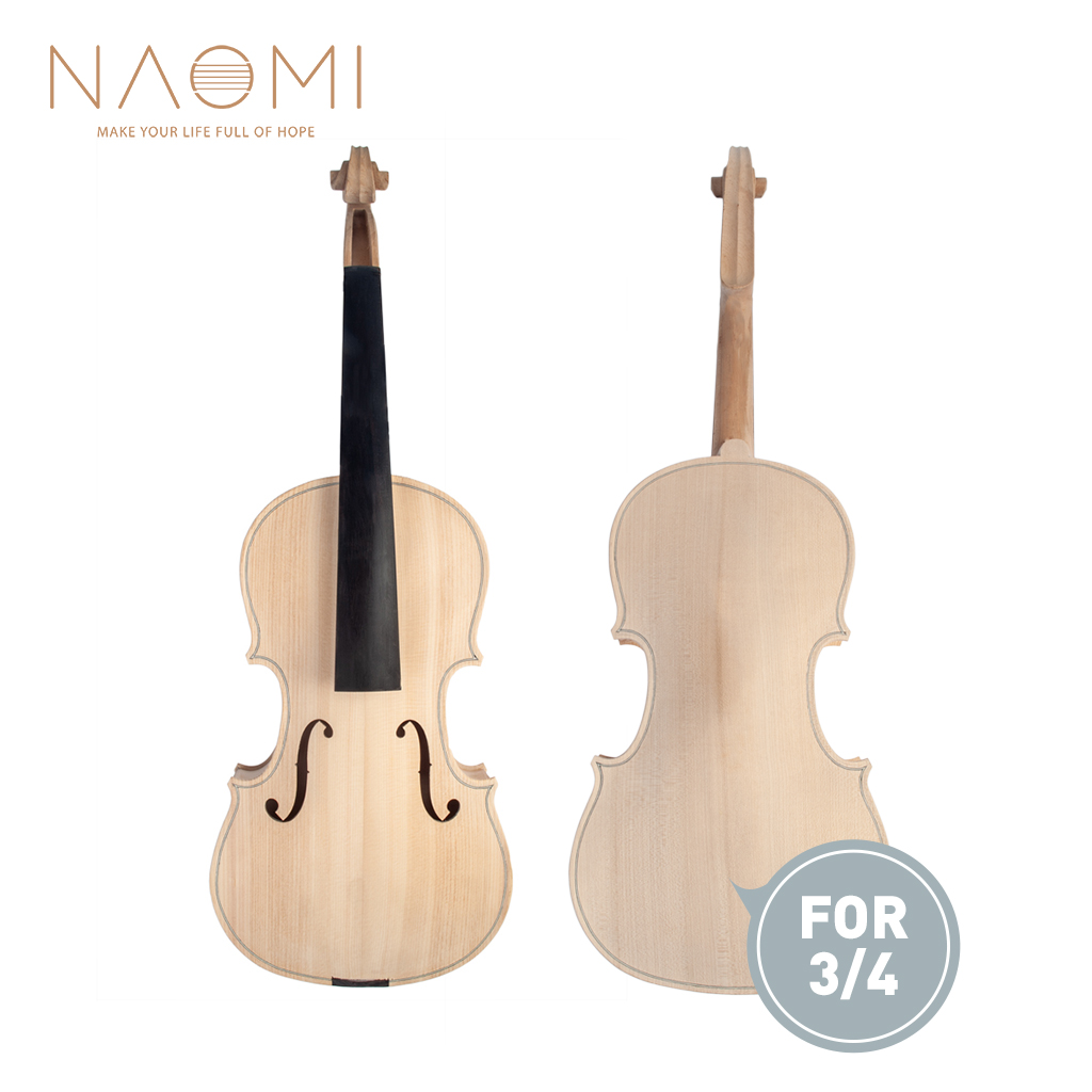 Naomi 3/4 Unfinished Violin 3/4 Size Violin Maple Body W/ Ebony Fingerboard High Quality Violin Parts Accessories New Carefully Selected Materials Stringed Instruments