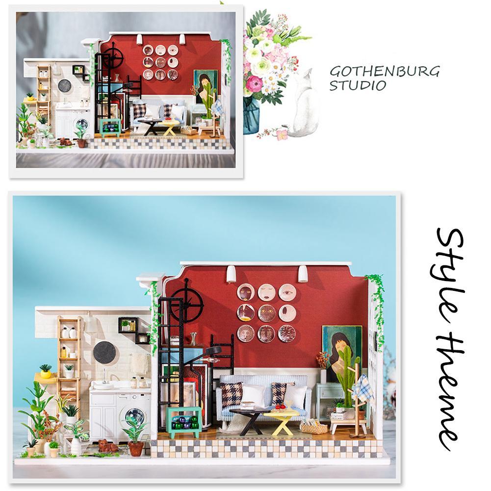 Kit de maison de poupée Miniature en bois bricolage Art maison artisanat cadeau d'anniversaire créatif pour les filles ornements décoratifs