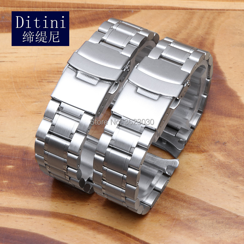 Solid Stainless Steel Watchbands Silver Black Metal Watch Band Strap Wrist Watches Bracelet For Casio 501 506 Seiko SNKP09K1