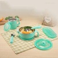4pcs Baby Feeding Tableware Food Warm Dish Bowl Set Stainless Steel Anti Slip Children Plate Set With Spoon Fork Sucker