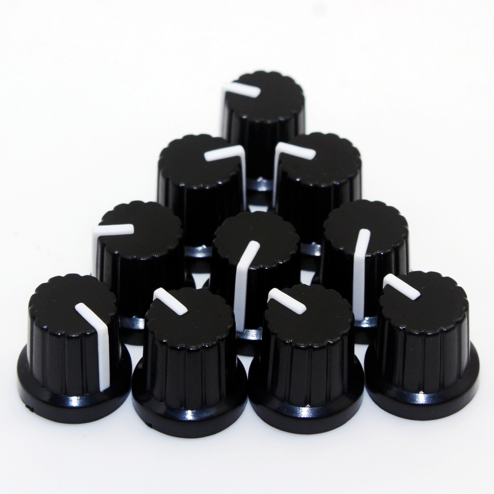 Newest !! Hot Sale 10 Pcs 6mm Shaft Hole Dia Plastic Threaded Knurled Potentiometer Knobs Caps(China)