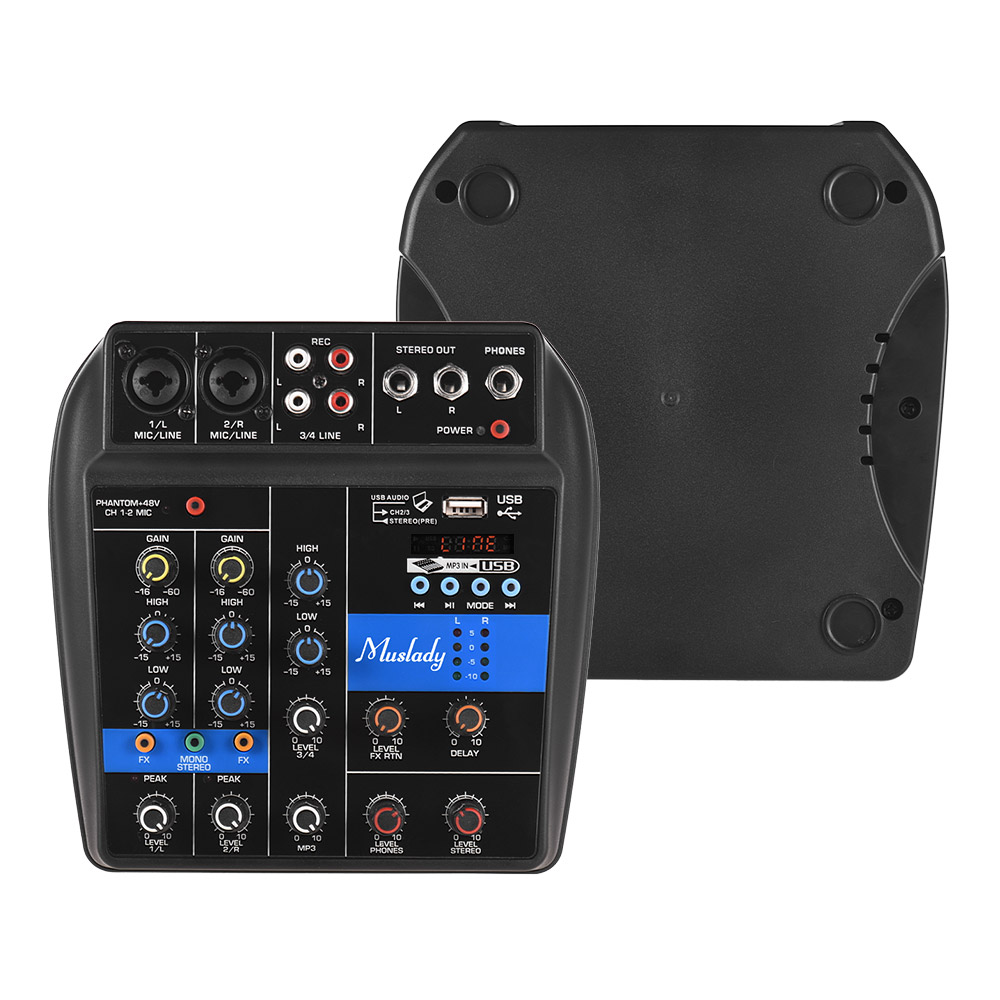 buy muslady s 1 portable 4 channel bt mixing console digital audio mixer built. Black Bedroom Furniture Sets. Home Design Ideas