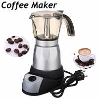 6 Cups 50ml Portable Electric Coffee Maker Stainless Steel Espresso Italian Mocha Coffee Pot For Home Kitchen Coffee Making