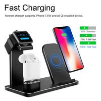 3 in 1 Aluminum Alloy Charging Stand Support Wireless Fast Charging Station for iPhone Apple Mobile Phone iWatch Watch AirPods