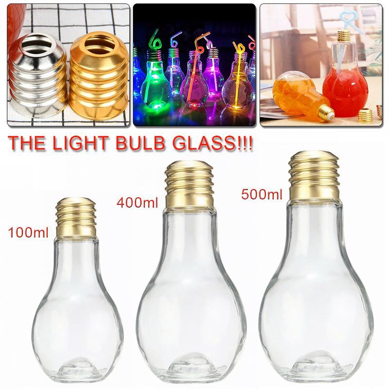Innovative Bulb Drink Juice Bottle Cute Juice Milk Summer Water Bottle 100ml 400ml 500ml With Light