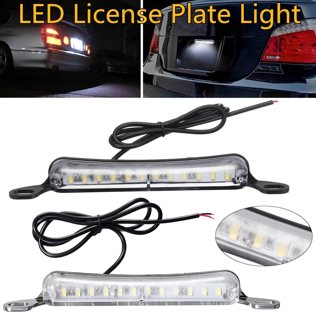 12-SMD Universal 6000K Xenon White Bolt-On LED Number License Plate Light Lamp Car