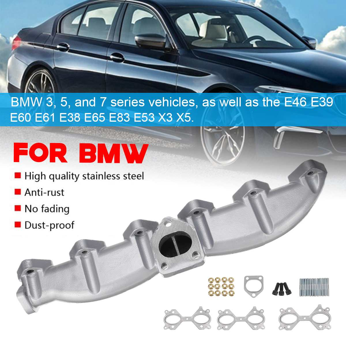 Car Exhaust Manifold for E46 E39 E60 E61 E38 E65 E83 E53 3 5 7 X3 X5