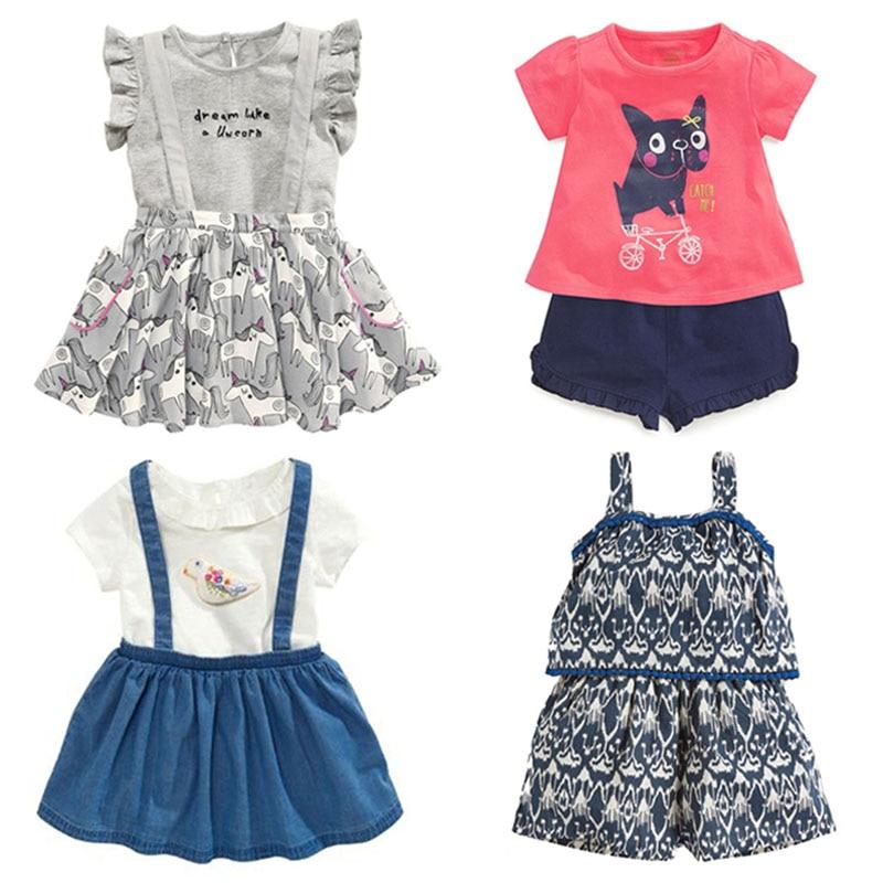 Jauns 2019 Kvalitātes 100% kokvilnas vasaras bērnu meiteņu apģērbu komplekts 2gab