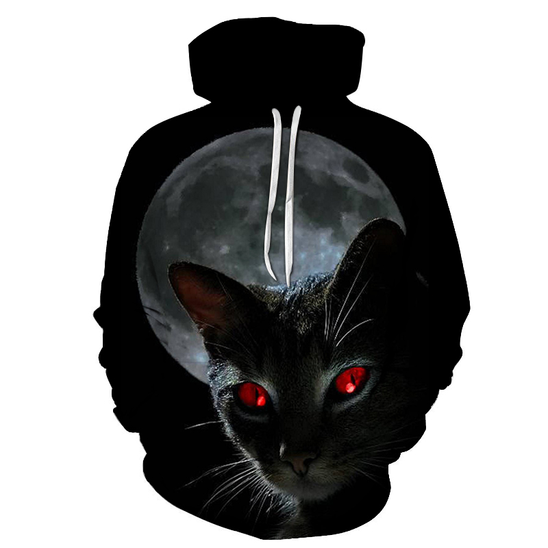 Black Cat Printed <font><b>Hoodies</b></font> Men <font><b>3D</b></font> Sweatshirt Cool <font><b>Animal</b></font> Pullover Streetwear Male Hooded <font><b>Unisex</b></font> Jacket Top Dropship image