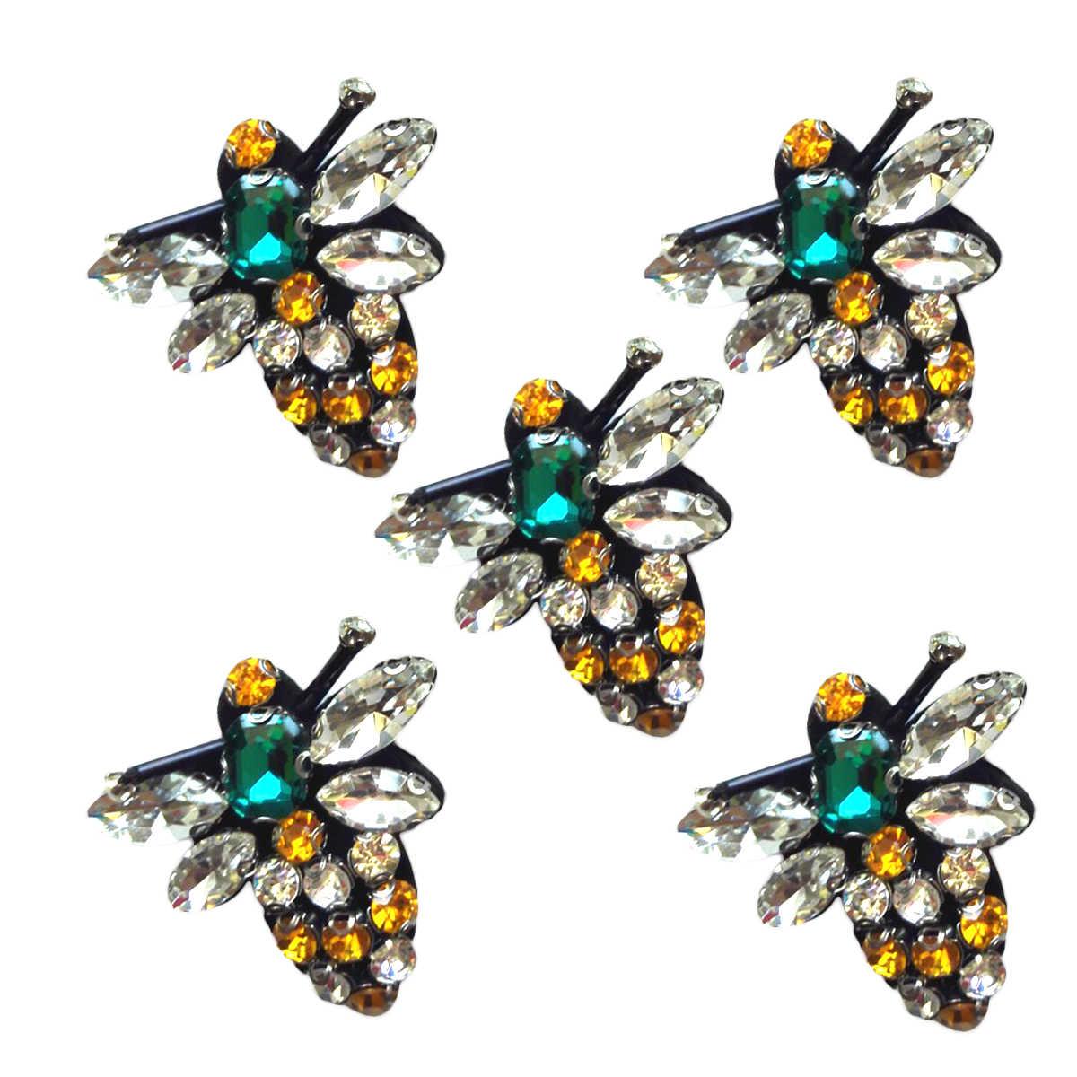 5pcs Toppe e Stemmi Rhinestone di Cristallo Attraente Littie Bee Unico Decorazioni Applique Vestito Sandali Calzini e Calzettoni FAI DA TE