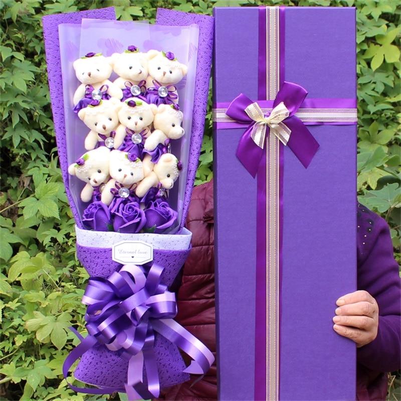 2019New fait à la main belle ours en peluche jouets dessin animé bouquets boîte-cadeau avec des fleurs de savon créatif anniversaire saint-valentin cadeau