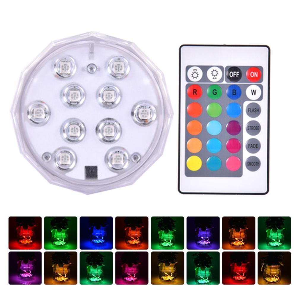 4pcs/set 10led Swimming Pool Light Wall-mounted Underwater Lamp Ip68 Waterproof Rgb Led Underwater Lights With Remote Control Moderate Cost Led Lamps