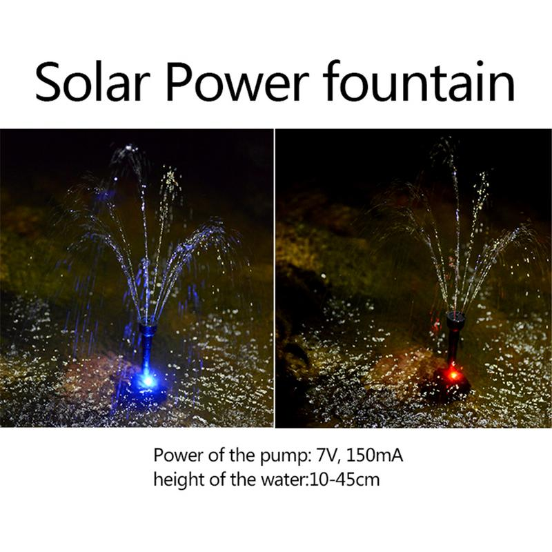 Colorful LED Solar Fountain Pump 2.4W LED Ground Solar Fountain Waterproof Fountain For Pond Solar Battery Color LED Lights
