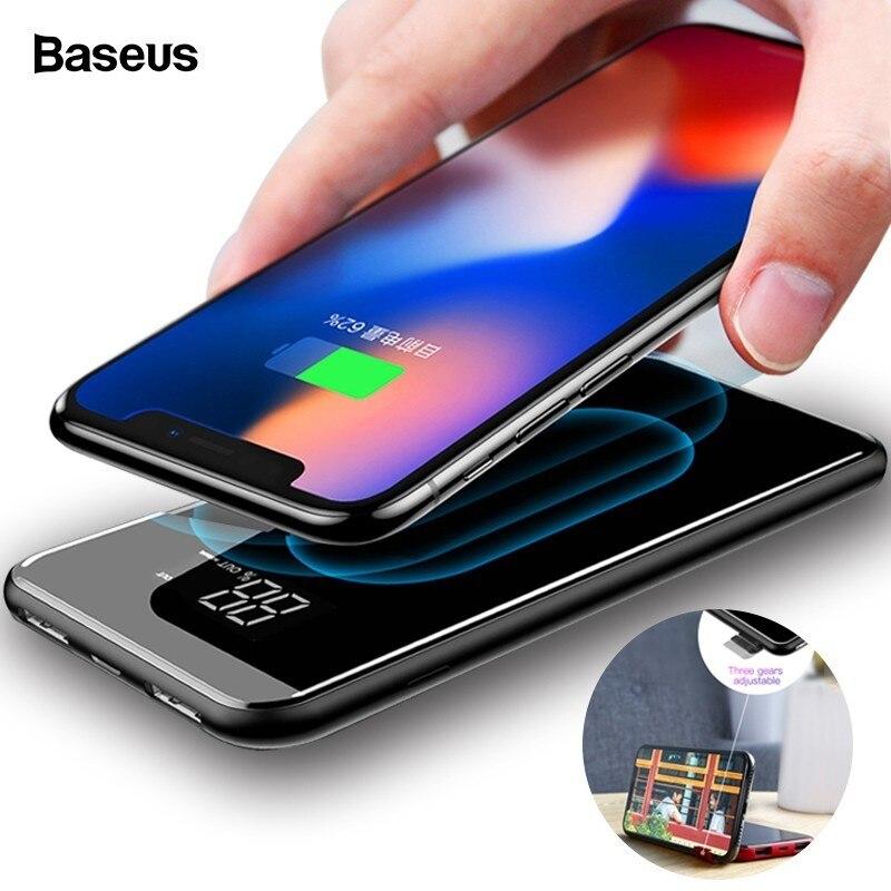 Baseus 8000 mAh cargador inalámbrico QI banco de potencia para iPhone XS Max Xiaomi LCD Dual USB batería externa de carga inalámbrica powerbank