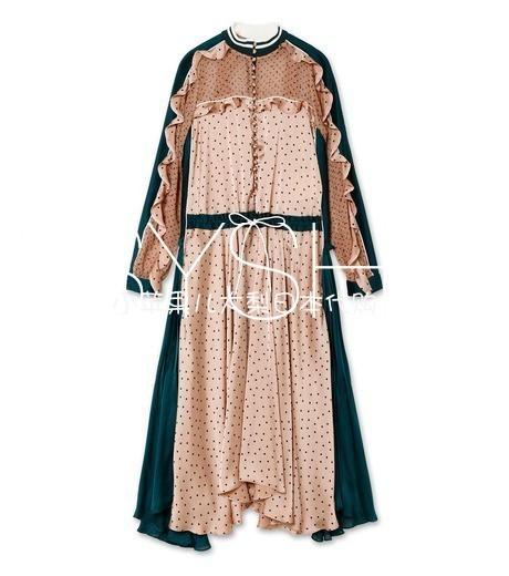 8023 2019 Spring European And American New style Spliced Lotus Leaf Collar Tie Pulled Back And Hit Fabric Wave Point Dress-in Dresses from Women's Clothing    1
