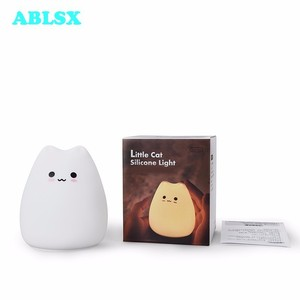 Image 5 - Animal Bedside Lamp Baby 3D Cartoon Small Cat Night Light For Bedroom Lamps AAA Battery Christmas Xmas Color Changed Nightlight