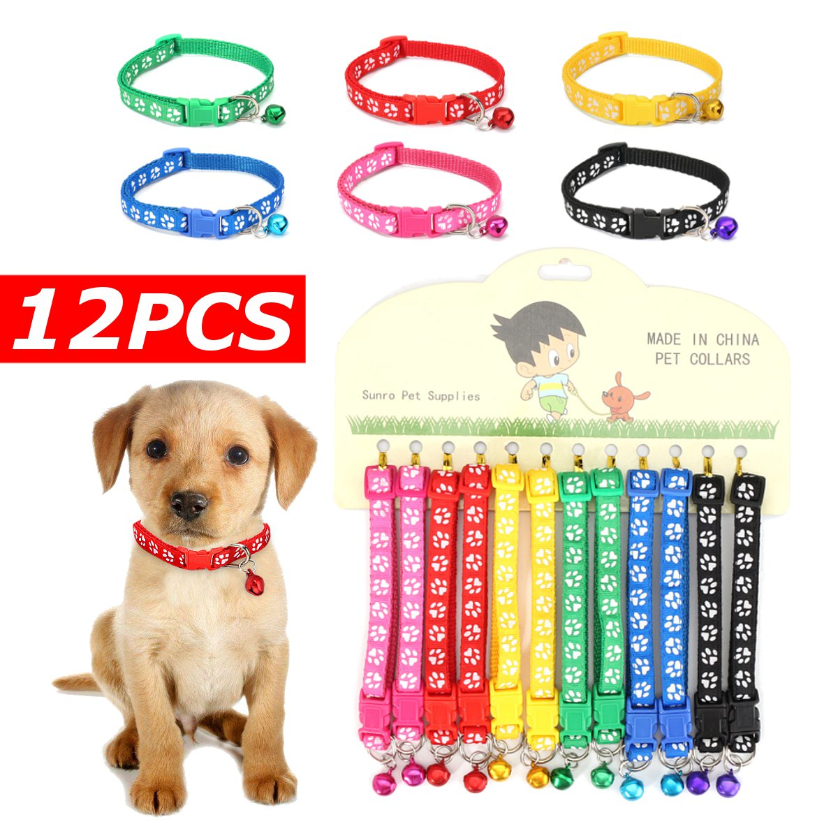 1428c7700 Collars Dog Collars & Leads Rational 12pcs/set Adjustable Pet Collar With  Bell Lovely Small Footprint Flower Strap Nylon Fabric Puppy Teddy Cat  Kitten Dog ...