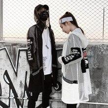 New hollow out mesh Men long jackets hooded windbreaker nightclub DJ punk hip hop coat women harajuku streetwear Spring summer