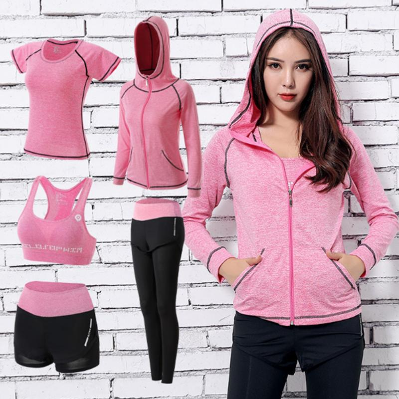 Heilsa Brand Sports Suits Women's Gym Yoga Set Running Tights Sportswear Quick Dry Training Fitness Clothes Jogging Suits 5pcs
