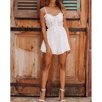 2019 Summer Women Embroidery Jumpsuit Fashion White Spaghetti Hollow Jumpsuit Lace Up Ruffled High Waist Rompers