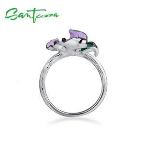 Image 4 - SANTUZZA srebrny pierścionek dla kobiet 925 srebro elegancki fioletowym kwiatem akcesoria ślubne biżuteria Handmade emalia