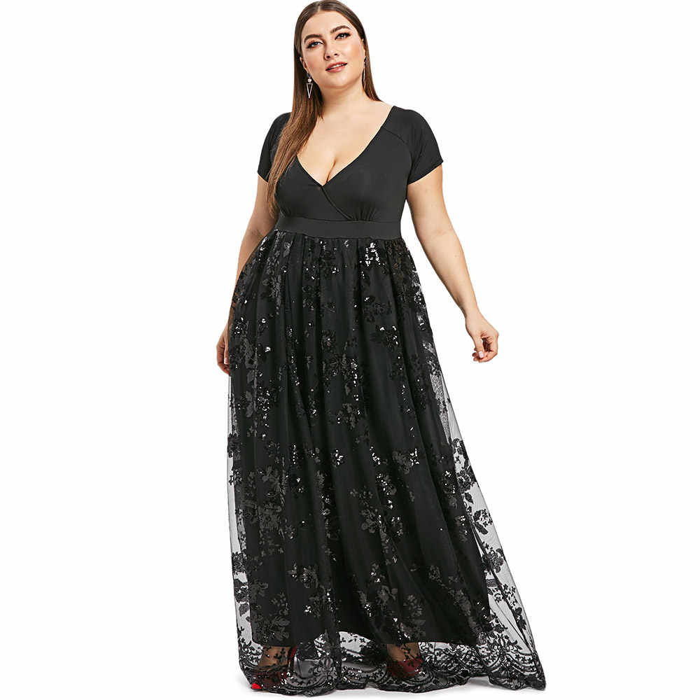 Kenancy Spring Summer Sequins Party Feminino Vestidos Short Sleeves High  Waist Floor Length Women Dress Black fc3b282fd299