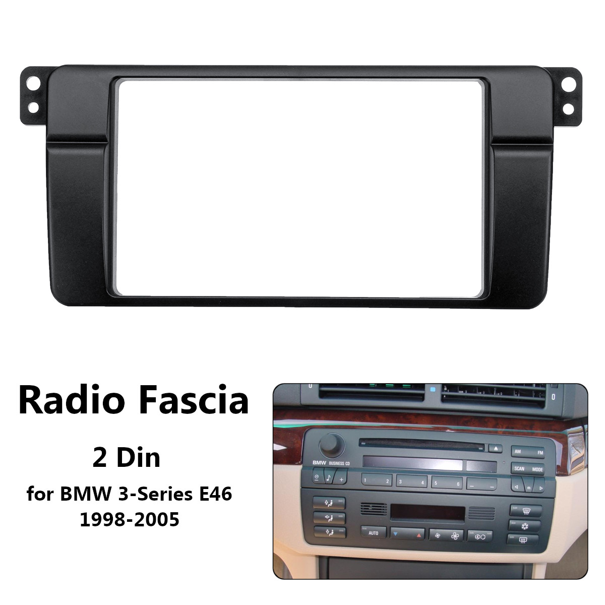 2DIN Car Stereo Fascia Dash CD Trim Installation Kit for BMW